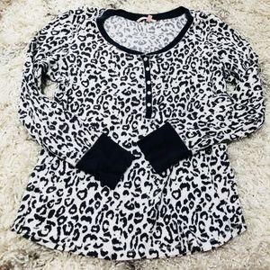 Dark Gray Victoria's Secret cheetah pajama top L